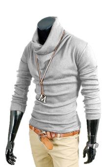Toprank Korea Men'S Casual Knitted Top Slim Fitting Dress Shirts Long Sleeve Knitting Cotton T-