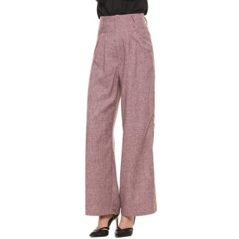 Toprank Baru Wanita Kasual Superline Lebar Refleksi Cahaya Kaki Tinggi Pinggang Ritsleting Celana Panjang (Merah