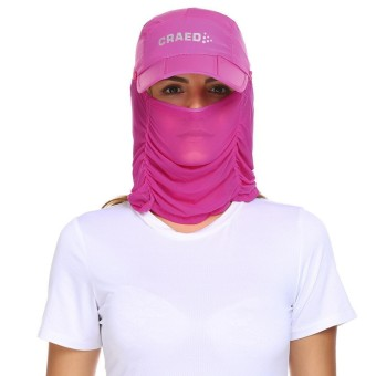 Toprank Unisex Visor Sun Caps Hats Sun Protective Face UV Mask Hat with Head Net Mesh ( Pink ) - intl
