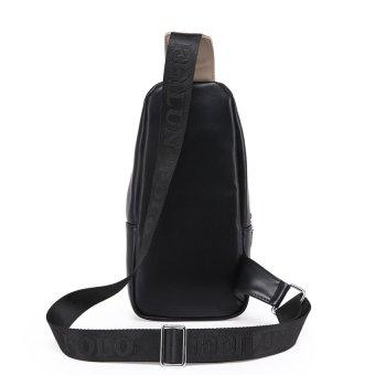 TP pria asli kulit sapi Premium kurir Chestpack perjalanan santaitas selempang Vintage selempang bahu tas Weekender-hitam - ?????????? - 3