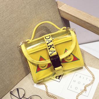Transparan Rantai Perhiasan Tas Bahu Dengan Satu Tali Messenger Tas Tas Jelly (Kuning)