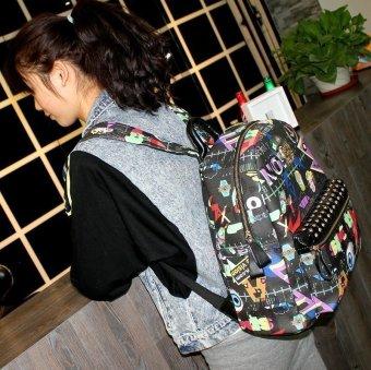 Tren paku keling grafiti tas ransel tas sekolah (Grafiti gambar warna)