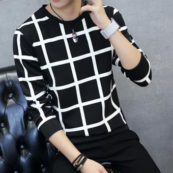 Tren Tambah Beludru Leher Bulat Slim Pakaian Pria Kaos Sweater T-shirt (Besar kotak