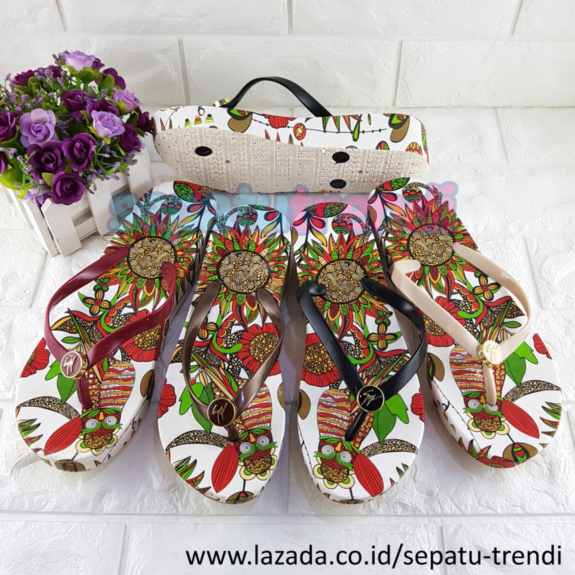 Trendi Sandal Wadges Jepit Wanita Tropical Warna Dikirim RANDOM JPTTROP