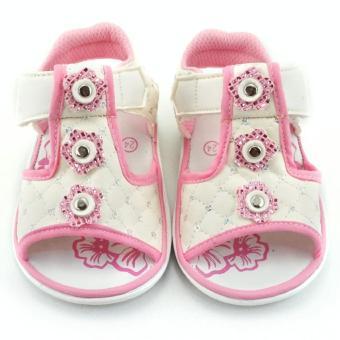 ... TrendiShoes Sandal Bunyi Anak Perempuan 3 Bunga Putih 2