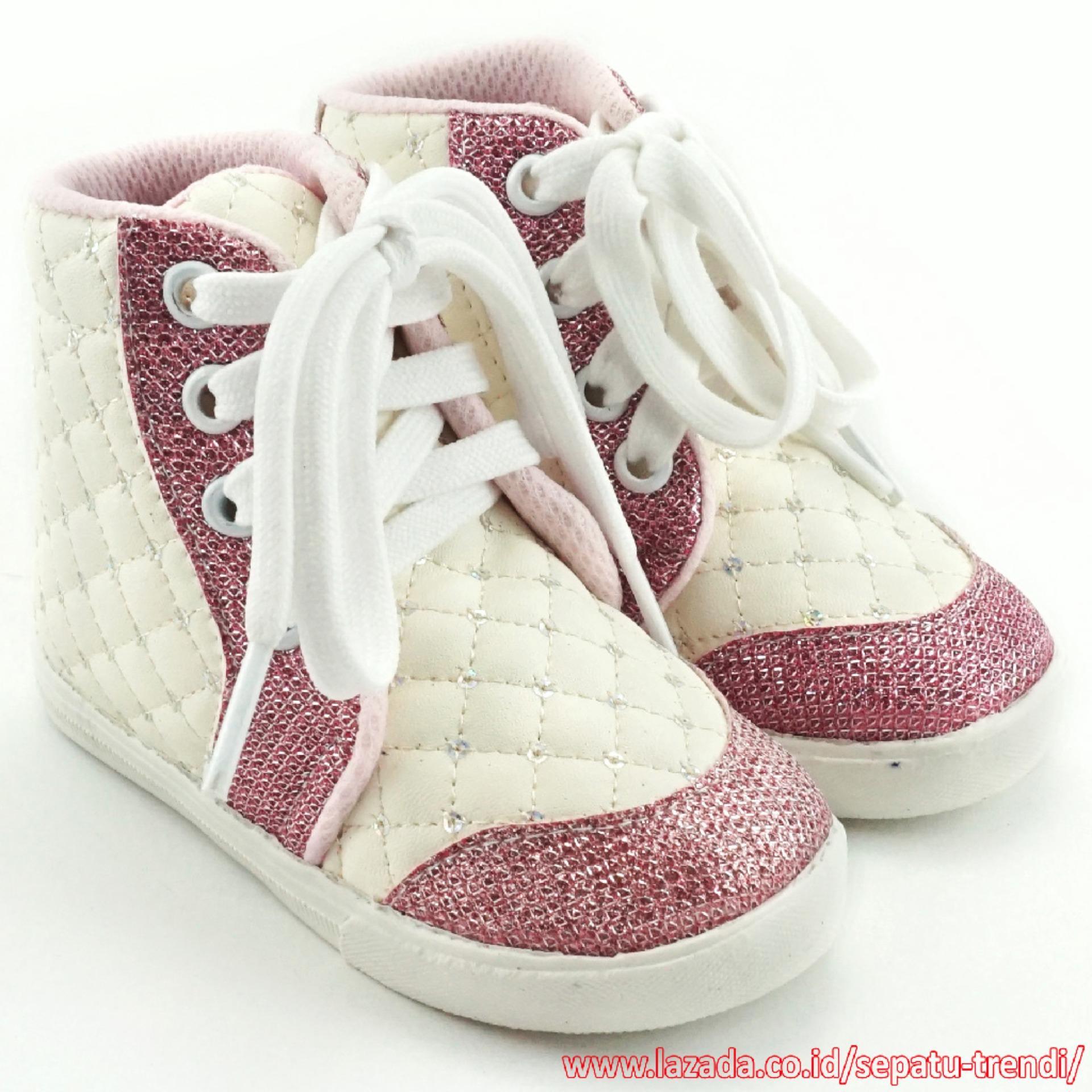 TrendiShoes Sepatu Boot Anak Perempuan Tali Kece DM Putih Pink .