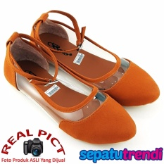 TrendiShoes Sepatu Wanita Flat Shoes Angkle Strap Trans Side 043 - Tan
