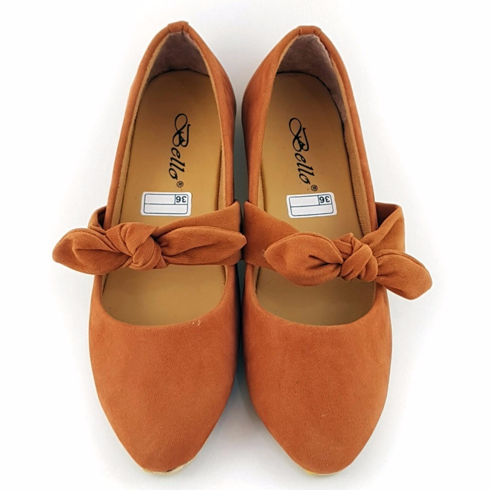 TrendiShoes Sepatu Wanita Flat Shoes Suede Knot BO025 - Tan .