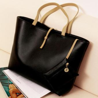 TT5 Tote Bag Wanita PU Leather Kulit Sintetis Basic Classic Simple Chic Tas Kerja Import Shoulder