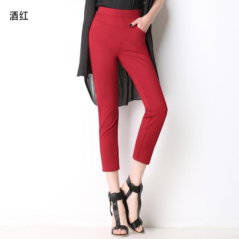 Tujuh perempuan pinggang tinggi peregangan Cropped pants celana celana ibu (F212 merah anggur)