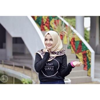 Gambar Tumblr Tee T Shirt Kaos Wanita Stay Simple Hitam Lengan Panjang