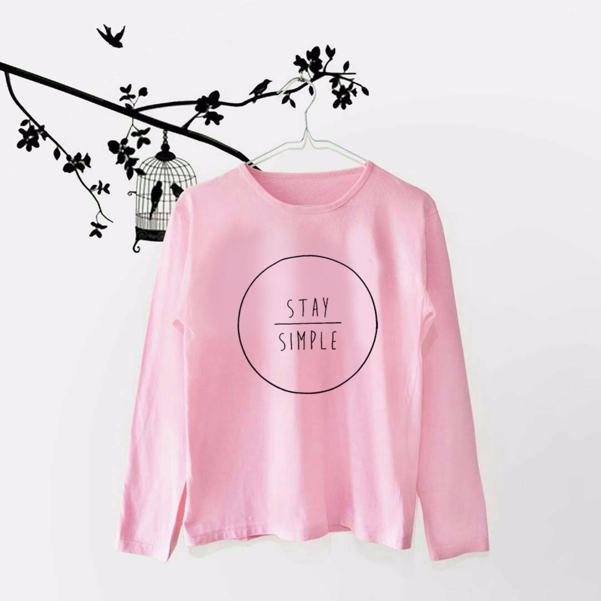 Shopping Comparison Tumblr Tee / T-Shirt / Kaos Wanita Stay Simple - Pink Lengan Panjang