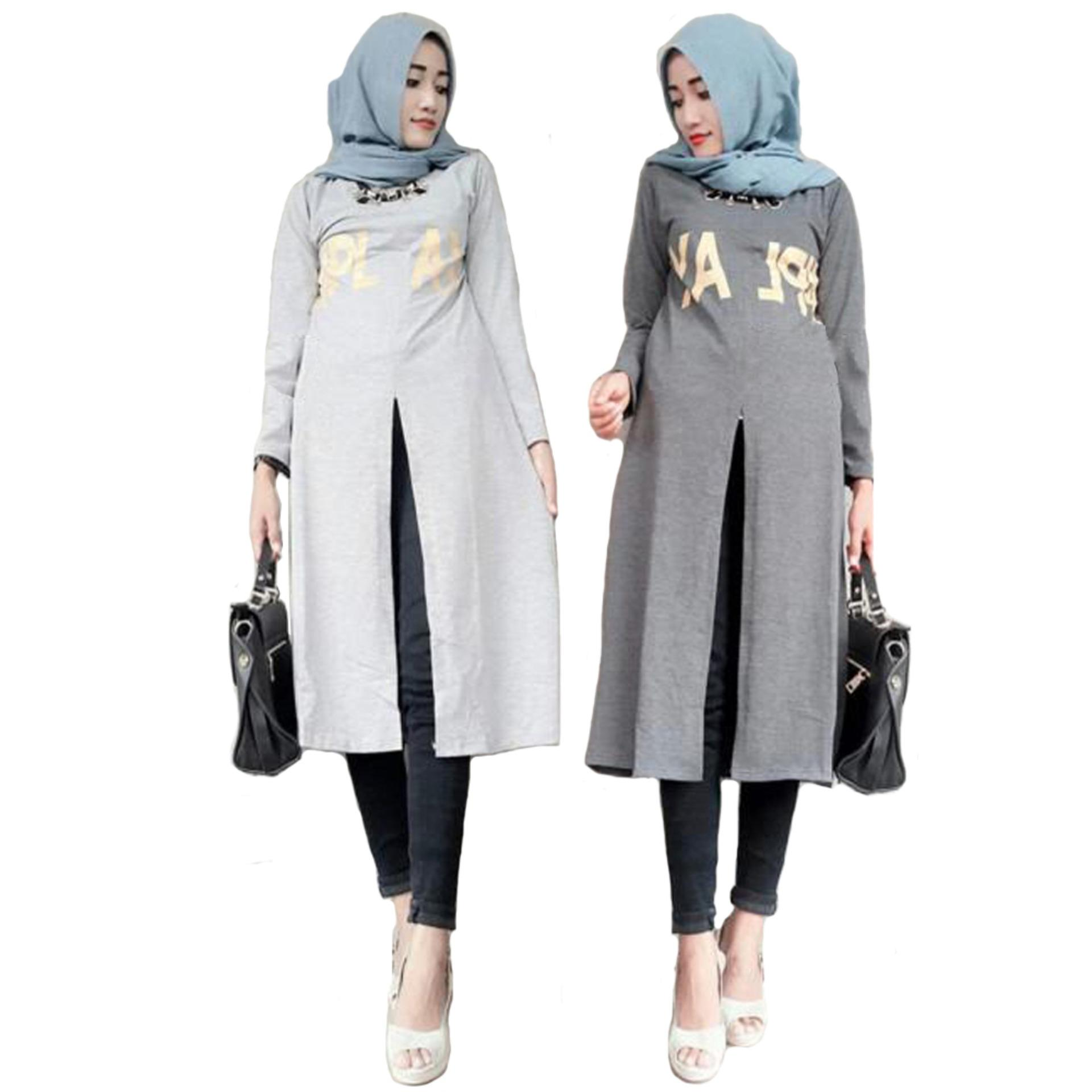 ... Tunik Atasan Wanita Blouse Muslim Tunik Play Long Top Abu abu Muda