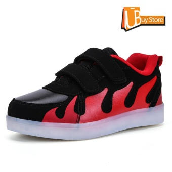 Ubuy 2017 Children Boys Girls Running Fire shoes Luminous Sneakers Led Light Up Kids sneaker(Red Black) - intl