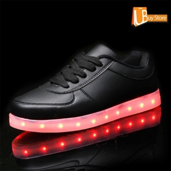UBUY 2017 LED Women Party Light Up Casual Luminous Sneakers Flashing Fashion Sepatu Unisex (Hitam)