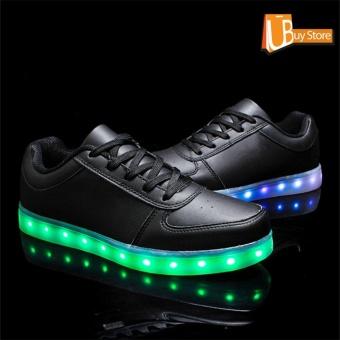 UBUY 2017 LED Women Party Light Up Casual Luminous Sneakers Flashing Fashion Sepatu Unisex (Hitam) - 5