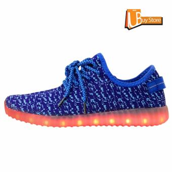 Ubuy LED Light Lace Up Sepatu Luminous Sportswear Sneaker Luminous Unisex Sepatu Casual (biru) - 2