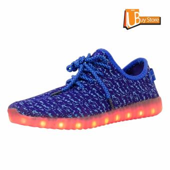 Ubuy LED Light Lace Up Sepatu Luminous Sportswear Sneaker Luminous Unisex Sepatu Casual (biru)