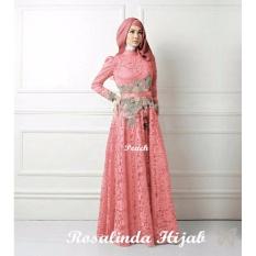 UC Dress Gamis Fitri Muslim / Kebaya / Syari Syar'i/ Baju Gamis Setelan Wanita 3 in 1 (salindaro) SS - Peach