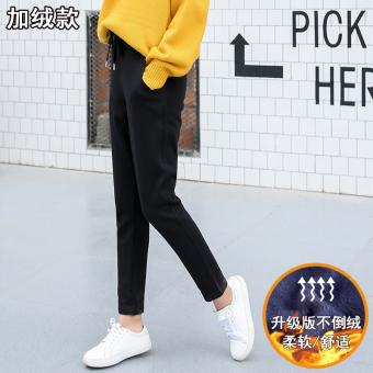 Harga Ulzzang Korea Fashion Style ditambah beludru siswa perempuan harem celana tebal celana olahraga (Hitam ditambah beludru) Ori