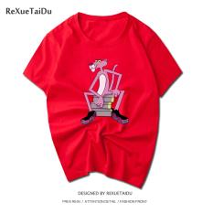 Ulzzang Korea Fashion Style Katun Lengan Pendek Pria Dan Wanita T-shirt (Merah macan