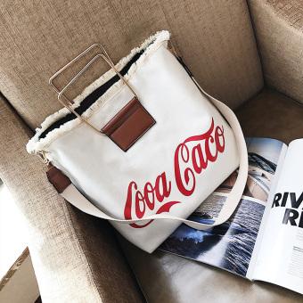 Ulzzang perempuan besar tas tas kanvas (Putih)