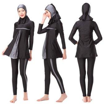 Unique Design Hidden Tummy Womens' Modest Muslim Burkini 3-PiecesHindu Jewish Hijab Swimsuit Islam Lady Swimwear XS-XXXL(Grey) -intl