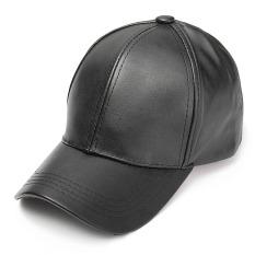 unisex pria wanita kulit lembut topi baseball pengendara sepeda motor olahraga outdoor adjustable topi hitam intl