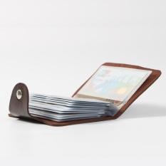 Unisex Wanita atau Pria PU Kulit Portable Pemegang Kartu Kredit dengan 24   Slot Kartu (Brown)