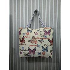 universal tas fashion wanita tote bag canvas-butterfly
