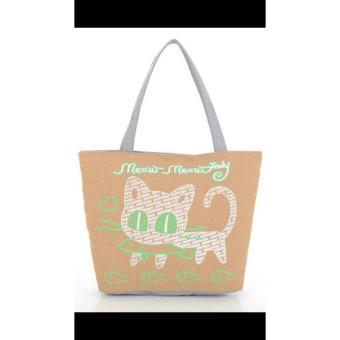 universal tas fashion wanita tote bag canvas-kucing coklat
