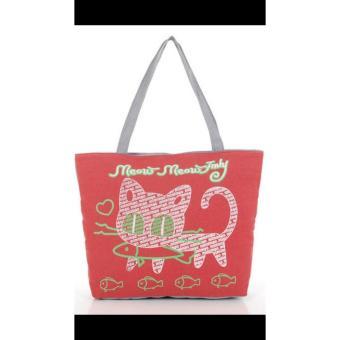 universal tas fashion wanita tote bag canvas-kucing merah putih