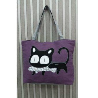 Universal Tas Fashion Wanita Tote Bag Canvas - Motif Kucing Ungu