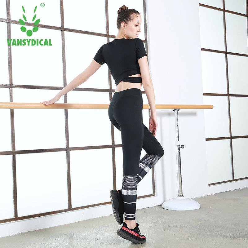 VANSYDICAL Woman Fashion Hollow Out Sport T-shirts Quickly DryRunning Fitness Workout Short Sleeve Crop
