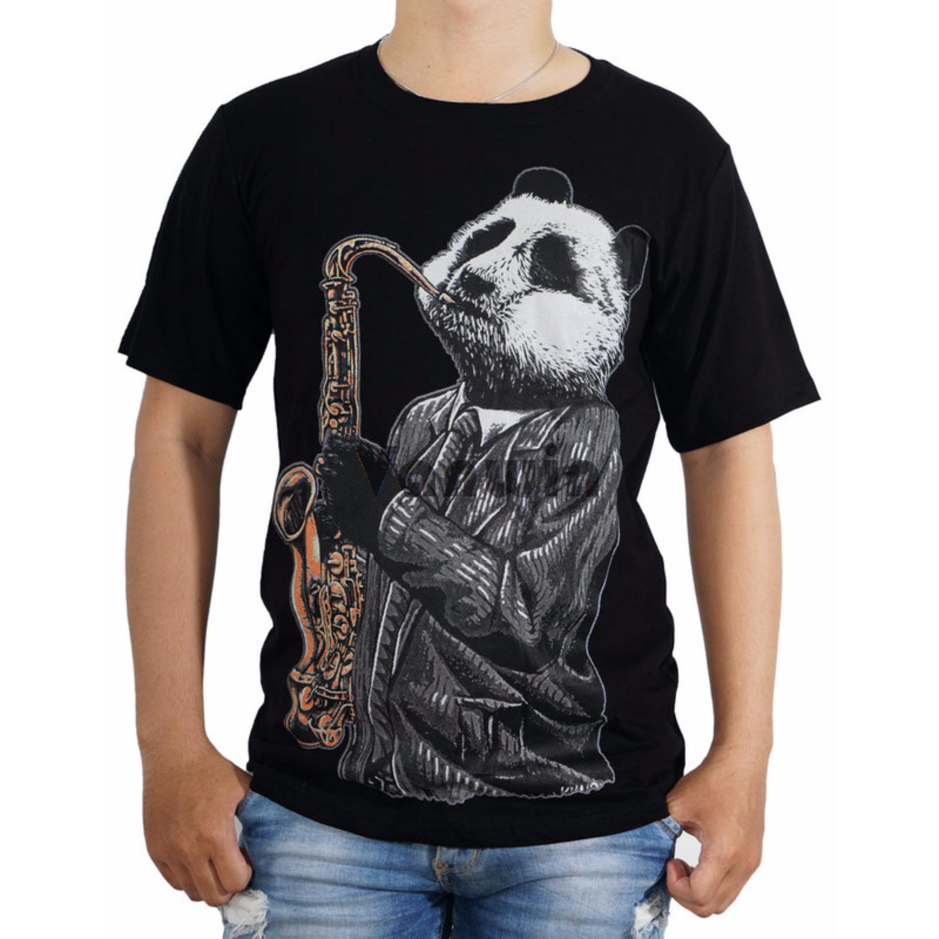 Flash Sale Vanwin Kaos T Shirt Distro Premium Panda Music Hitam