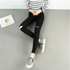 Versatile female stretch slim fit ankle-length pants Korean-style bottoming pants (Hitam