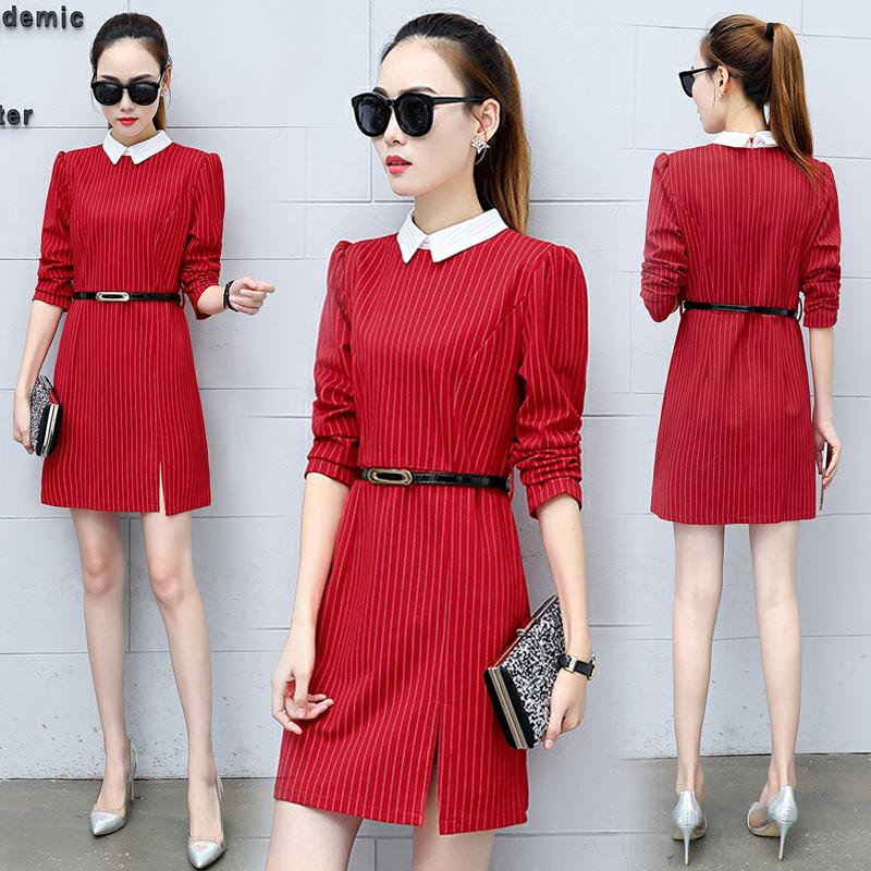 Versi Korea baru tipis dan panjang bagian A rok kata temperamen gaun  pinggang (Merah) 1018078c72