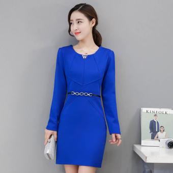 Penawaran Bagus Versi Korea dari bagian panjang baru Slim lengan panjang gaun paket rok hip (
