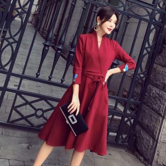 ... Korea Fashion Style organza hitam yang tidak teratur A rok kata gaun Hijau gelap