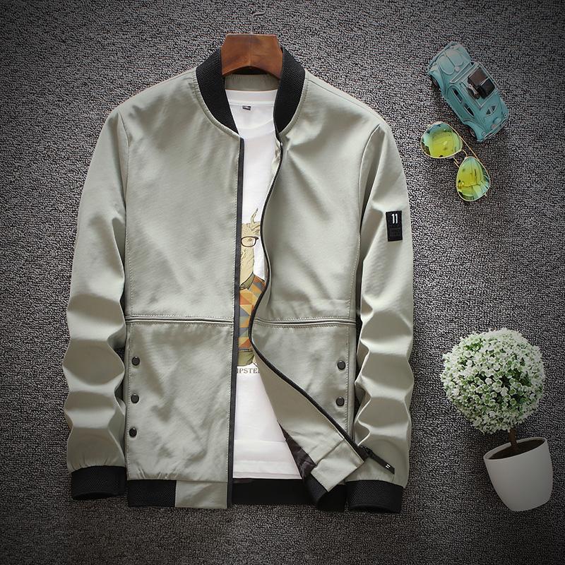 Versi Korea dari musim gugur bisbol seragam baru gaun pria jaket (C702 hijau tentara)