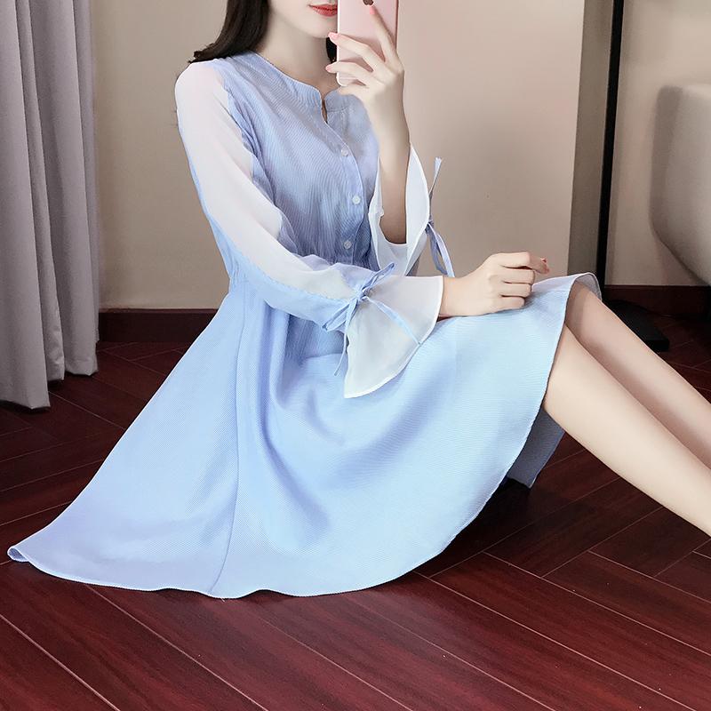 Flash Sale Versi Korea dari bergaris Slim adalah baju kemeja tipis gaun tanduk lengan (Biru muda)