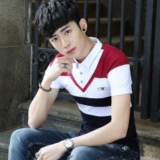 Versi Korea dari bisnis Slim bottoming kemeja t-shirt (Merah)