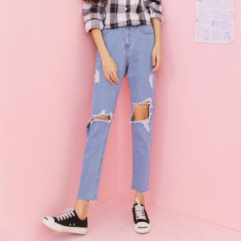 Gambar Versi Korea dari harem pants longgar sembilan poin celana jeans (Biru muda) (