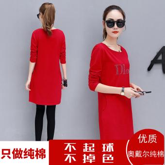 Versi Korea dari kapas perempuan longgar blus t-shirt (Merah besar)