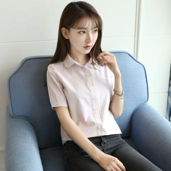 Flash Sale Versi Korea dari kapas perempuan longgar lengan pendek kemeja kemeja putih (Putih susu