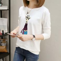 Versi Korea dari kartun dicetak pada Qiuyi longgar lengan panjang t-shirt ( Putih)