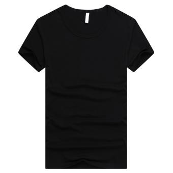 Gambar Versi Korea dari katun warna solid leher bulat t shirt bottoming kemeja (Hitam (