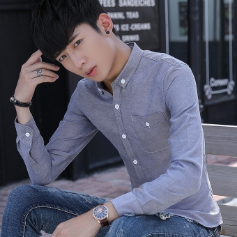 Harga Saya Versi Korea dari lengan panjang Slim bisnis kemeja putih kemeja pria (Abu-