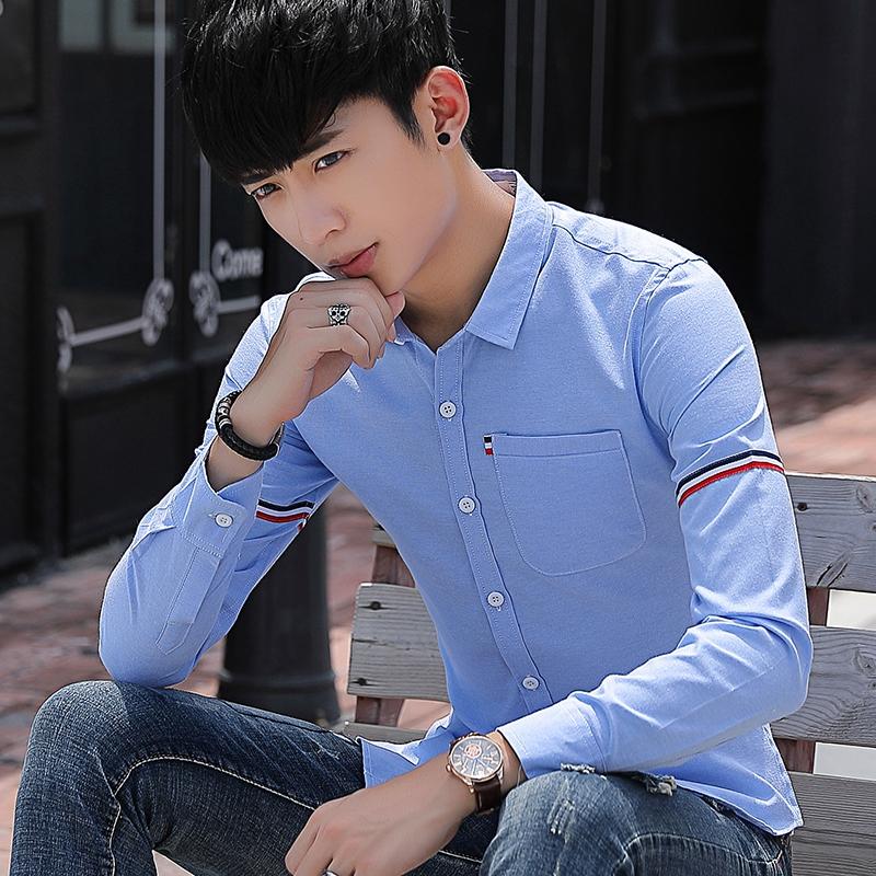 Versi Korea dari musim gugur baru pria lengan panjang kemeja (Cahaya biru)