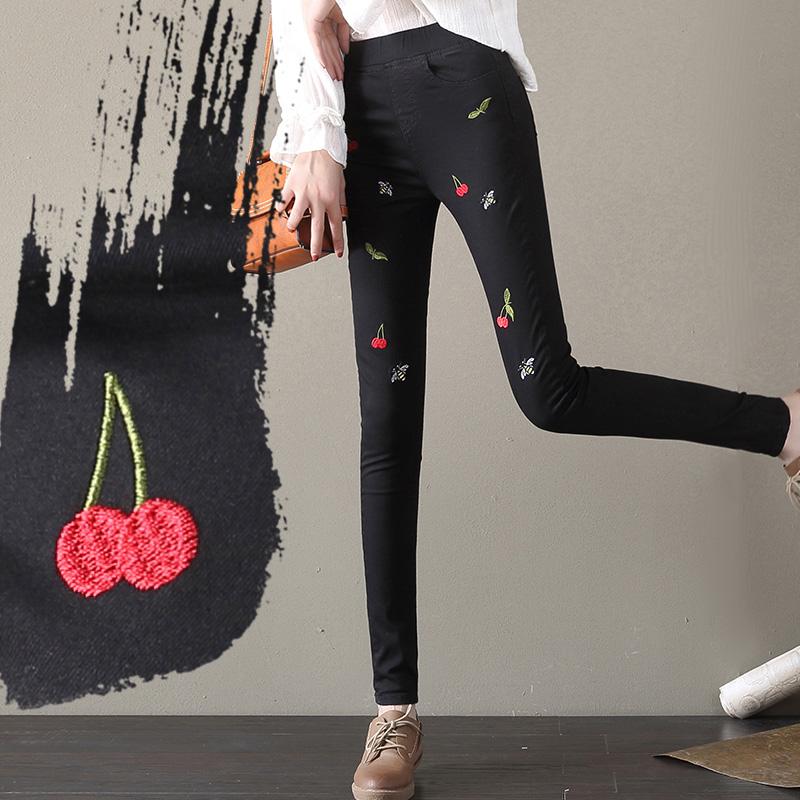 Versi Korea dari musim gugur wanita baru celana panjang pinggang tinggi celana jeans (Hitam)
